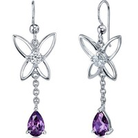 Butterfly Design 2.00 Carats Alexandrite Pear Shape Dangle Cubic Zirconia Earrings in Sterling Silver Rhodium Finish