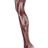 Wine Peacock Lace Tights - Topshop
