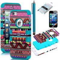 Pandamimi ULAK 3-Piece Hybrid High Impact Case Tribal Pink/Blue Silicone for iphone 5 5th + Screen Protector + Stylus:Amazon:Cell Phones & Accessories