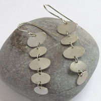 Long Dangle Pebbles Earrings - Sterling Silver Ovals - Stacked Pebbles