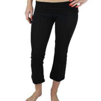 Active Basic Fold Over Cotton Spandex Flare Capris