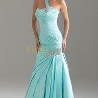 [US$298.99] Long One Shoulder Ruched Mermaid Night Moves Satin Prom Dress