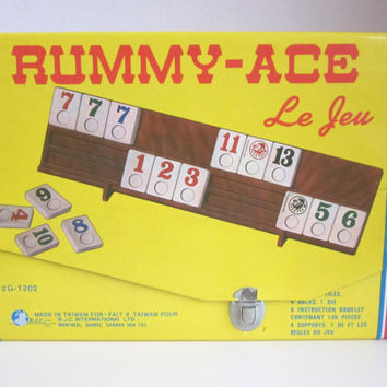 Rummy-Ace Vintage board game, original carrying case, tiles, racks and instructions, Great for cottage