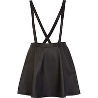 Black wet look pinafore skater skirt - skirts - sale - women