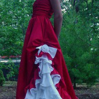 Vintage 1980's red/white gypsy style gown | Funkyfindzonline - on ArtFire