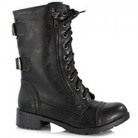 Soda Dome-SA Black, Taupe, Dark Brown, Light Camel, Grey Lace-up Military Combat Boot Buckles | Shoetopia.com