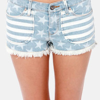 Roxy Rollers Striped and Star Print Jean Shorts