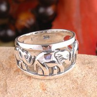 925 Sterling Silver Elephant Family Ring Size 8