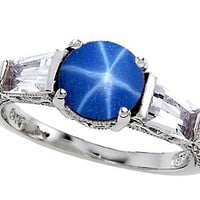 2.60 cttw Original Star K(tm) 925 Lab Created Star Sapphire Engagement Ring in .925 Sterling Silver Size 5