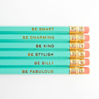 Gentle Reminders Pencils  Aqua and Gold Set by AmandaCatherineDes