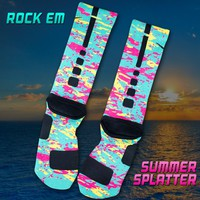 Summer Splatter Custom Nike Elite Socks | Rock 'Em Apparel