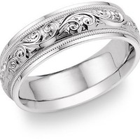 Paisley Design White Gold Wedding Band Ring
