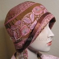 Antique Style Pink Brown Vintage Silk Embroidery 1920s Gatsby Flapper Cloche Hat | savannahparker - Accessories on ArtFire