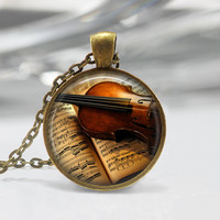 Violin Glass Pendant,Instrument Jewelry,Violin Necklace,Music Necklace,Gift For Musician