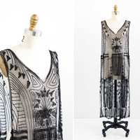 vintage 1920s dress / 20s flapper dress / Black Beaded Sheer Tabard Over Dress