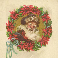 Santa in Poinsettia Wreath on Vintage Christmas Postcard