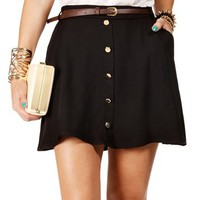 Pre-Order: Black Belted Button Skater Skirt
