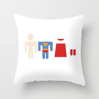 Superman Undressed (Available in the Society 6 Shop!) Throw Pillow by Ashley B.