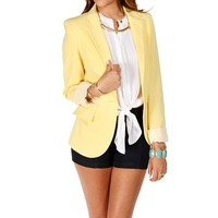 Electric Yellow Striped Boyfriend Blazer
