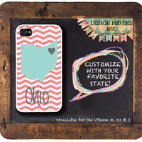 Personalized iPhone Case, State Love Ohio Chevron iPhone Case, Fits iPhone 4, iPhone 4s & iPhone 5, Phone Cover, Phone Case