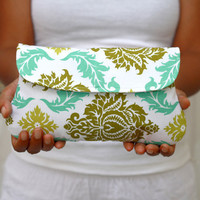 Wedding Clutch Damask White, aqua and olive
