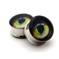 Cat Eye Picture Plugs - 00g - 10mm - Sold As a Pair