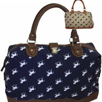 Ladies Womens Large Oversized Horse Pony Tapestry Faux Leather and Canvas Handbag Weekend Maternity Overnight Bag:Amazon:Clothing