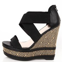 open toe aztec print wedge - 1000047920 - debshops.com