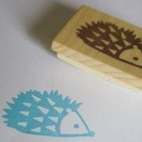 Hedgehog Hand Carved Stamp by doodlebugdesign on Etsy