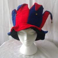 Mardi Gras red and blue jester's hat with bells