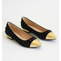 Golden Studded Flats