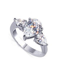 Nickel Free Sterling Silver Pear Cut Clear Cubic Zirconia Polished Finished Womens Band Ring Size 8