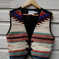 Western Native Design Summer Festival Vest Women's M Colorful Wool