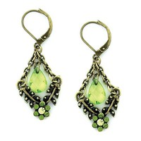 Brass Tone Peridot Hues Trapeze Floral Earrings