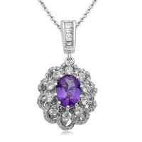 Sterling Silver Oval Amethyst with Created White Sapphire Accents Diamond Flower Pendant Necklace, 18""