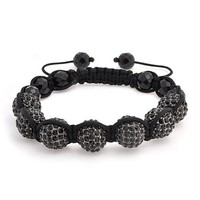 Bling Jewelry Black Swarovski Crystal Macrame Bracelet Unisex Black Faceted Onyx Small Beads 12mm