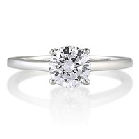 Sterling Silver Round Cubic Zirconia CZ Solitaire Ring - Nickel Free Engagement Wedding Ring Size 9