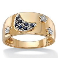 BLue Sapphire & Diamond Accents 10k Gold Moon & Star Ring