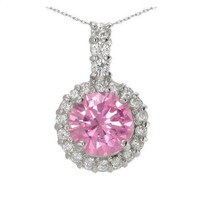 "7MM 2CT. Pink Fashion Pendant In Sterling Silver With 18"" Chain"