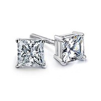 6.00 Ct. K-VS2 Princess Cut Diamond Stud Earrings Platinum Push/Friction Back