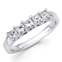 14K White Gold 5 Stone Princess-cut Diamond Ladies Women Cut Wedding Anniversary Ring Band (0.52 CTW., F-G Color, SI1 Clarity) - size 9