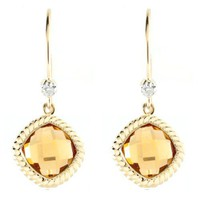 10k Yellow Gold Cushion Cut Citrine Diamond-Accent Rope Trim Eurowire Earrings