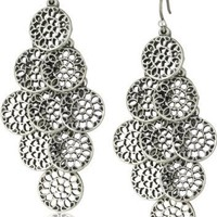 Lucky Brand Silver Openwork Disk Chandelier Earrings