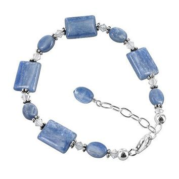 Sterling Silver Kyanite and Crystal Bracelet 7 to 8 inch Made with Swarovski Elements