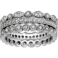 Platinum Luxe Antique Eternity Diamond Ring Stack (over 1 ct.tw.)