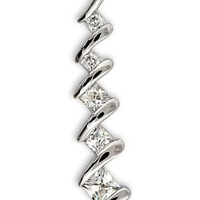 CleverSilver's Princess-Cut CZ. Diamond Sterling Silver Journey Jewelry Pendant