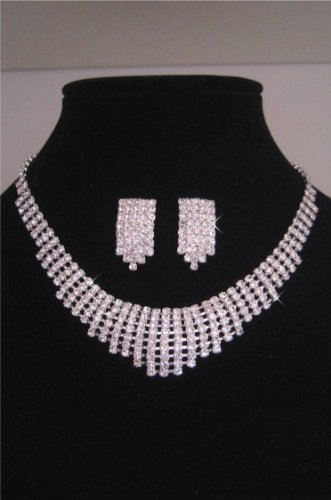 Rhinestone Prom Bridal Necklace Earring Jewelry Set