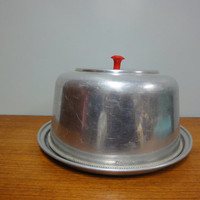 1950s Aluminum Cake Keeper, Red Bakelite Knob, Lidded Cake Tin, Cake Carrier, England
