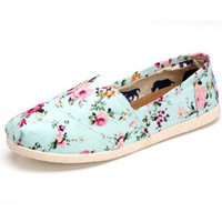 Sweetly and New joker leisure female rural wind set foot floral canva