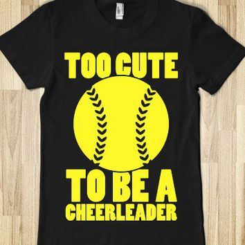 Too Cute To Be a Cheerleader (Yellow)-Female Black T-Shirt